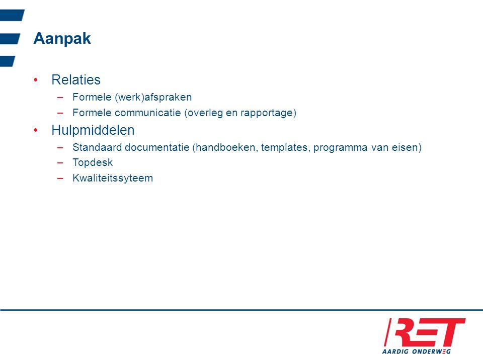 Aanpak Relaties –Formele (werk)afspraken –Formele communicatie (overleg en rapportage) Hulpmiddelen –Standaard documentatie (handboeken, templates, programma van eisen) –Topdesk –Kwaliteitssyteem