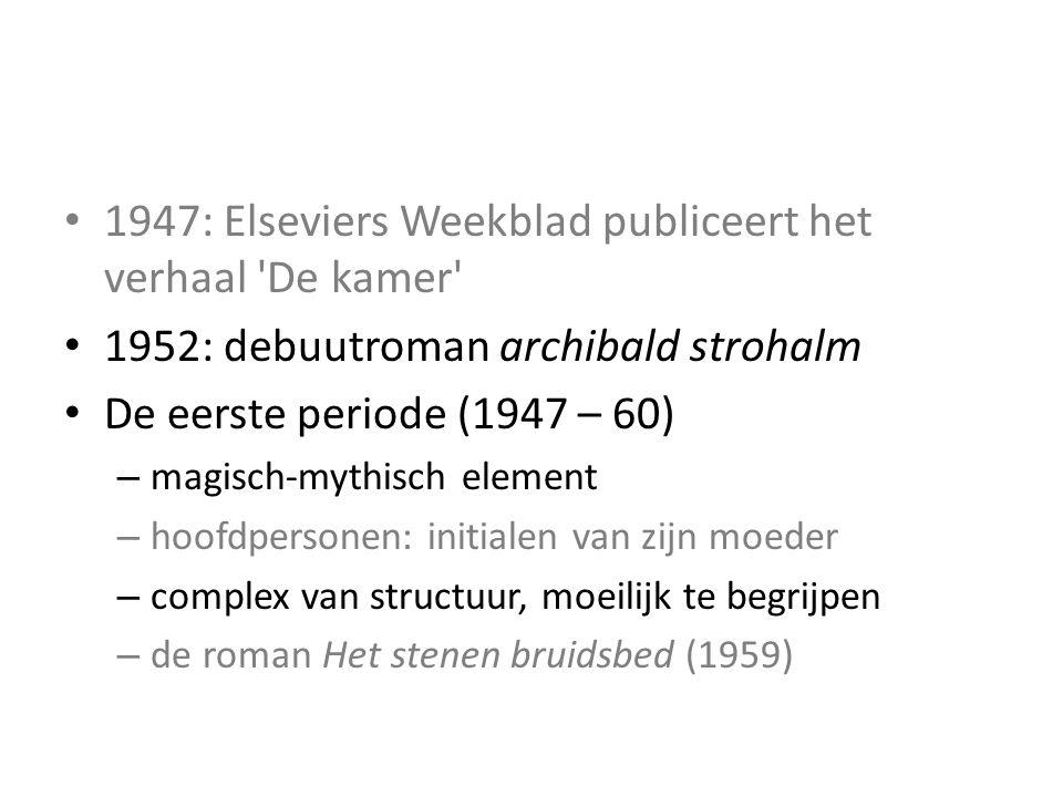 Literaire activiteiten 1947: Elseviers Weekblad publiceert het verhaal De kamer 1952: debuutroman archibald strohalm De eerste periode (1947 – 60) – magisch-mythisch element – hoofdpersonen: initialen van zijn moeder – complex van structuur, moeilijk te begrijpen – de roman Het stenen bruidsbed (1959)