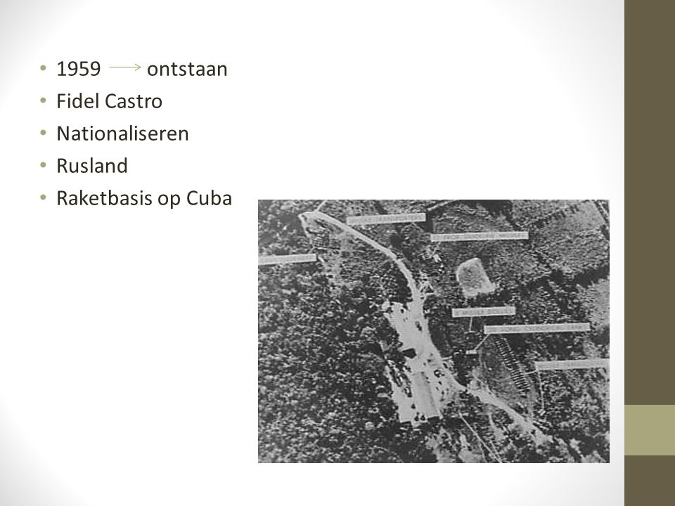 1959 ontstaan Fidel Castro Nationaliseren Rusland Raketbasis op Cuba