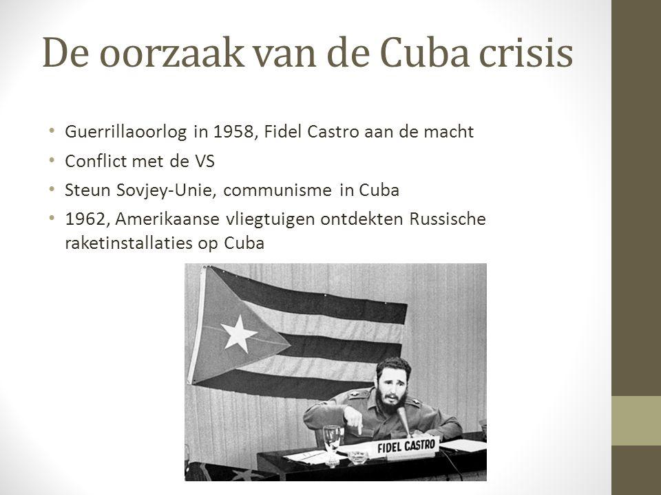 De oorzaak van de Cuba crisis Guerrillaoorlog in 1958, Fidel Castro aan de macht Conflict met de VS Steun Sovjey-Unie, communisme in Cuba 1962, Amerikaanse vliegtuigen ontdekten Russische raketinstallaties op Cuba