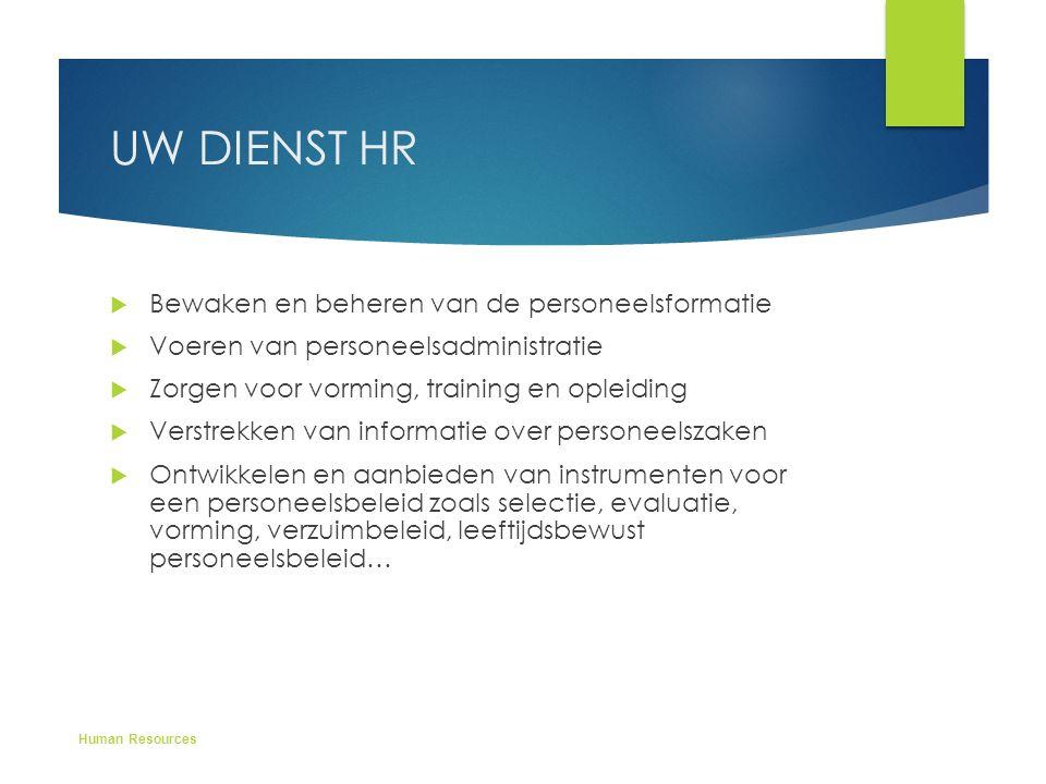 UW DIENST HR  Bewaken en beheren van de personeelsformatie  Voeren van personeelsadministratie  Zorgen voor vorming, training en opleiding  Verstr