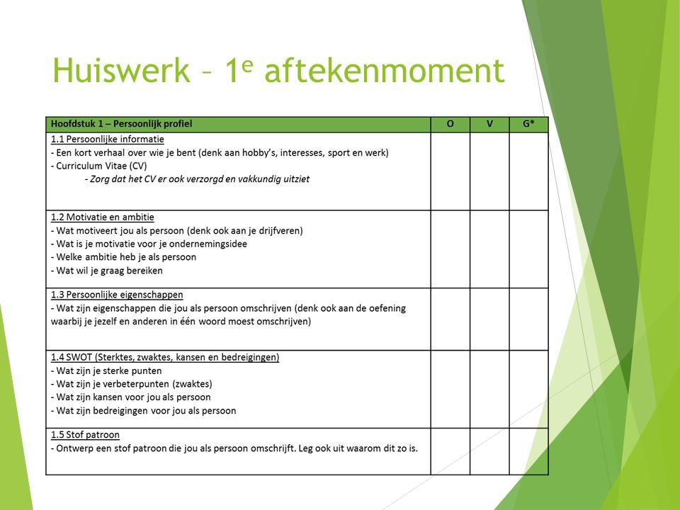 Huiswerk – 1 e aftekenmoment