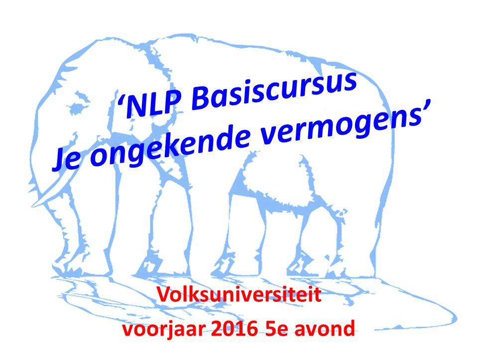 'NLP Basiscursus Je ongekende vermogens' Volksuniversiteit voorjaar 2016 5e avond