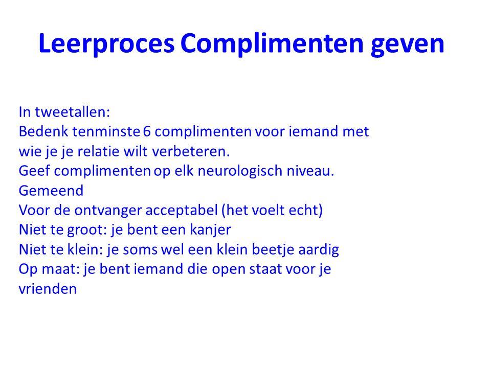 Leerproces Complimenten geven In tweetallen: Bedenk tenminste 6 complimenten voor iemand met wie je je relatie wilt verbeteren. Geef complimenten op e