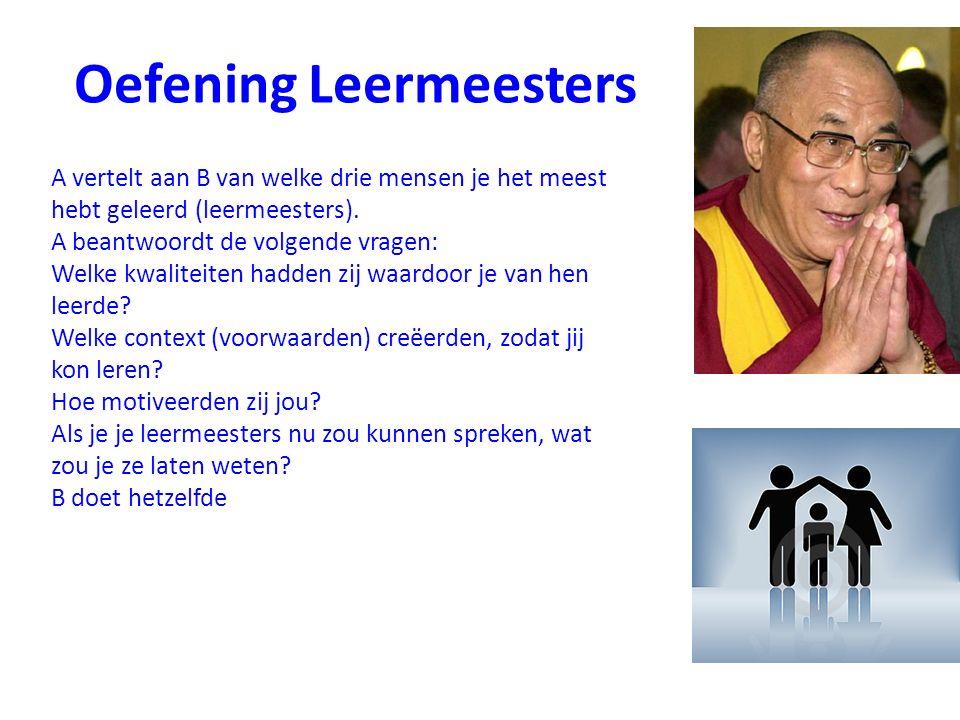 Oefening Leermeesters A vertelt aan B van welke drie mensen je het meest hebt geleerd (leermeesters). A beantwoordt de volgende vragen: Welke kwalitei