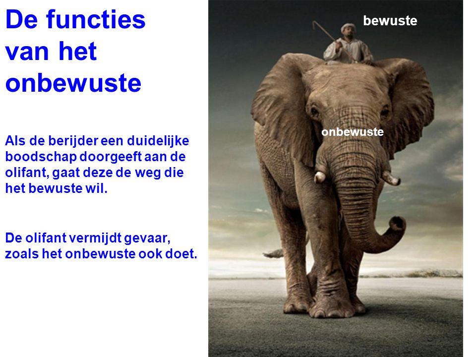 Als de berijder een duidelijke boodschap doorgeeft aan de olifant, gaat deze de weg die het bewuste wil. bewuste onbewuste De olifant vermijdt gevaar,