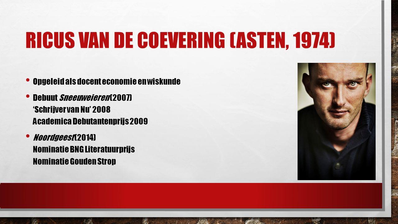 RICUS VAN DE COEVERING (ASTEN, 1974) Opgeleid als docent economie en wiskunde Debuut Sneeuweieren (2007) 'Schrijver van Nu' 2008 Academica Debutantenp