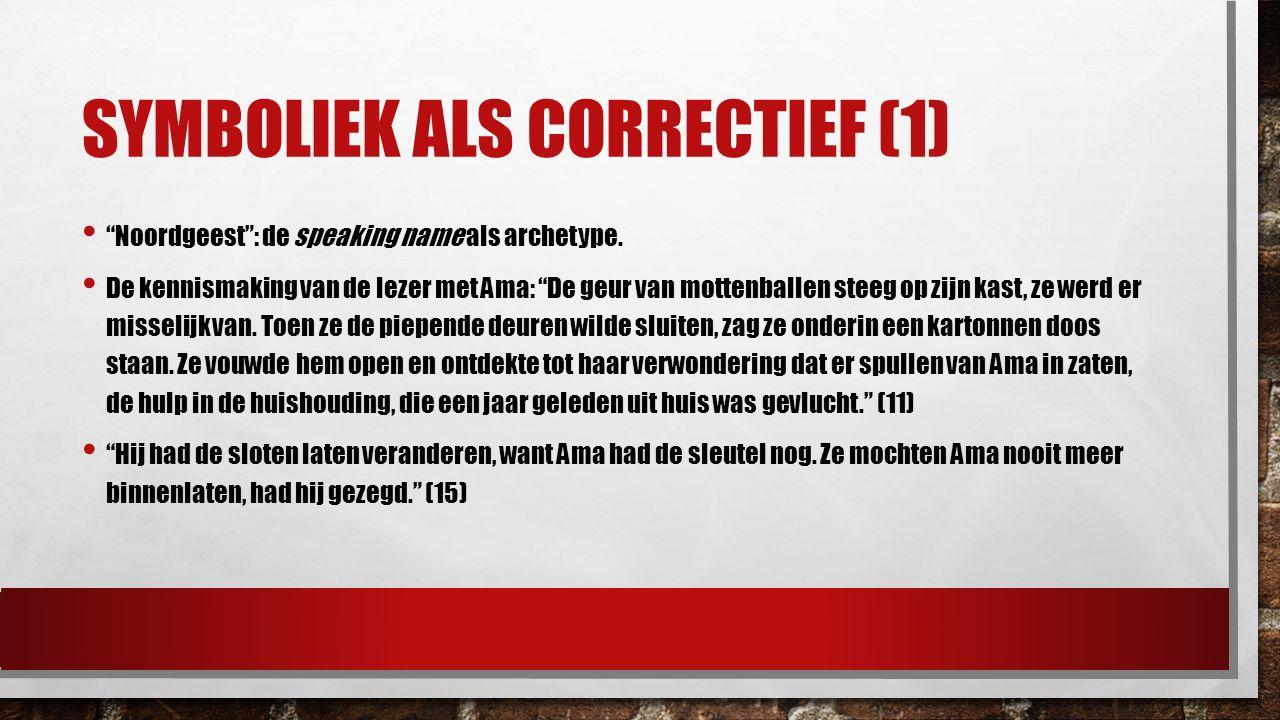 """SYMBOLIEK ALS CORRECTIEF (1) """"Noordgeest"""": de speaking name als archetype. De kennismaking van de lezer met Ama: """"De geur van mottenballen steeg op zi"""