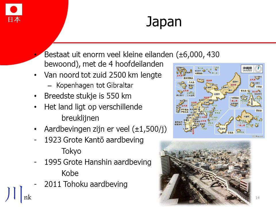 日本 Japan Bestaat uit enorm veel kleine eilanden (±6,000, 430 bewoond), met de 4 hoofdeilanden Van noord tot zuid 2500 km lengte – Kopenhagen tot Gibra