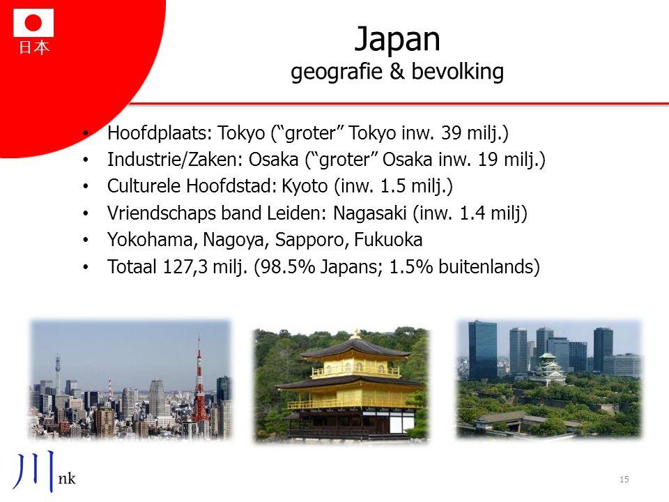 """日本 Japan geografie & bevolking Hoofdplaats: Tokyo (""""groter"""" Tokyo inw. 39 milj.) Industrie/Zaken: Osaka (""""groter"""" Osaka inw. 19 milj.) Culturele Hoofd"""