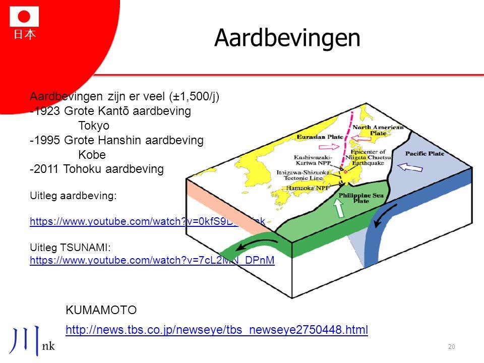 日本 Aardbevingen 20 http://news.tbs.co.jp/newseye/tbs_newseye2750448.html Aardbevingen zijn er veel (±1,500/j) -1923 Grote Kantō aardbeving Tokyo -1995