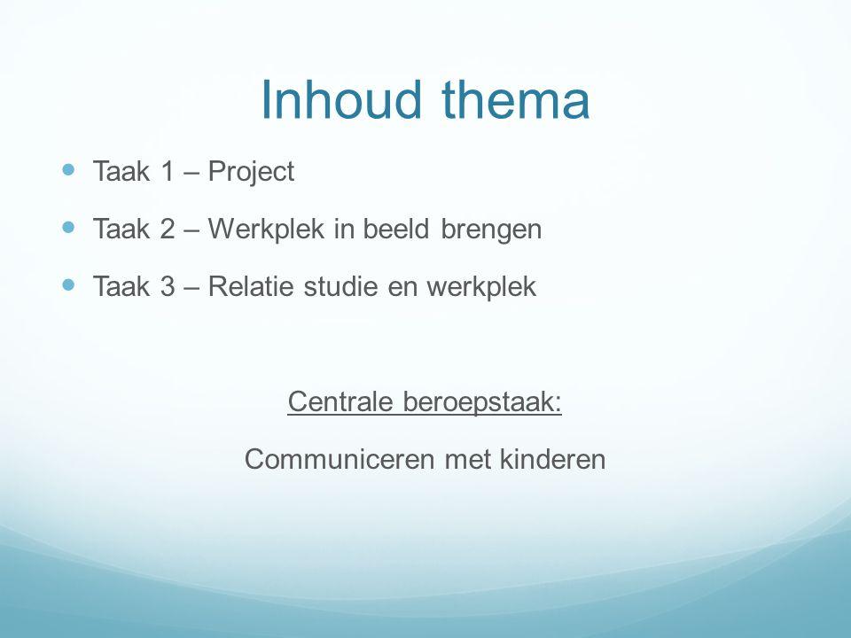 Inhoud thema Taak 1 – Project Taak 2 – Werkplek in beeld brengen Taak 3 – Relatie studie en werkplek Centrale beroepstaak: Communiceren met kinderen