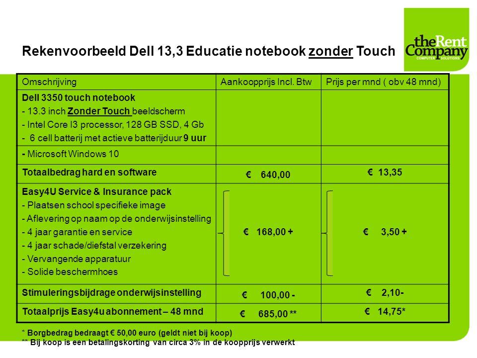 Rekenvoorbeeld Dell 13,3 Educatie notebook zonder Touch OmschrijvingAankoopprijs Incl. BtwPrijs per mnd ( obv 48 mnd) Dell 3350 touch notebook - 13.3