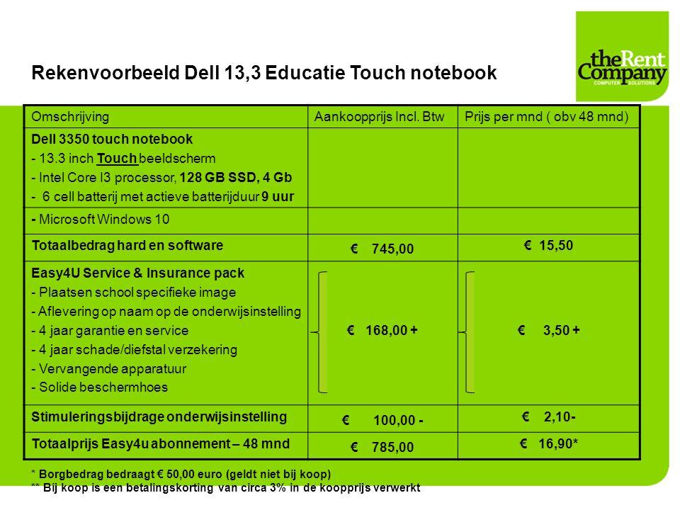 Rekenvoorbeeld Dell 13,3 Educatie Touch notebook OmschrijvingAankoopprijs Incl. BtwPrijs per mnd ( obv 48 mnd) Dell 3350 touch notebook - 13.3 inch To