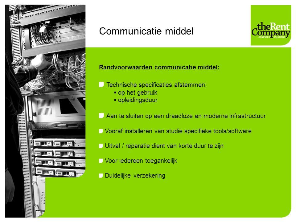 Communicatie middel Randvoorwaarden communicatie middel: Technische specificaties afstemmen:  op het gebruik  opleidingsduur Aan te sluiten op een d