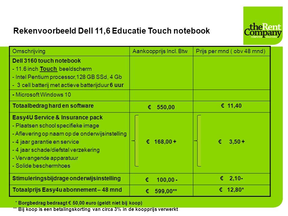 Rekenvoorbeeld Dell 11,6 Educatie Touch notebook OmschrijvingAankoopprijs Incl. BtwPrijs per mnd ( obv 48 mnd) Dell 3160 touch notebook - 11.6 inch To