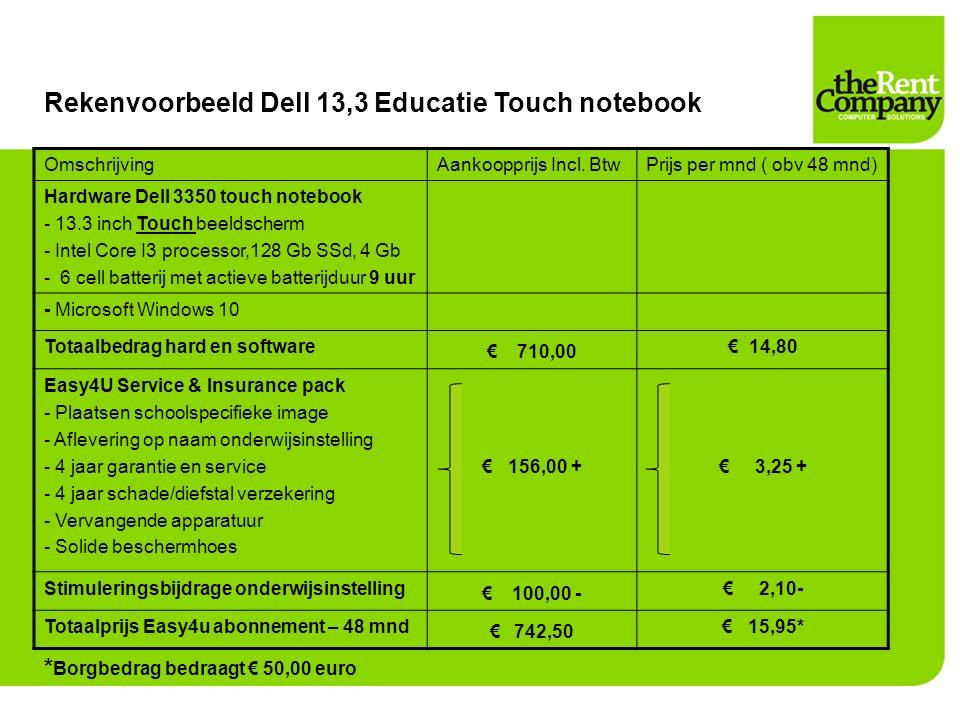Rekenvoorbeeld Dell 13,3 Educatie Touch notebook OmschrijvingAankoopprijs Incl. BtwPrijs per mnd ( obv 48 mnd) Hardware Dell 3350 touch notebook - 13.