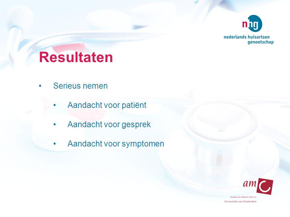 Resultaten Serieus nemen Aandacht voor patiënt Aandacht voor gesprek Aandacht voor symptomen