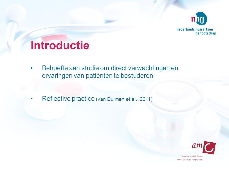 Introductie Behoefte aan studie om direct verwachtingen en ervaringen van patiënten te bestuderen Reflective practice (van Dulmen et al., 2011)