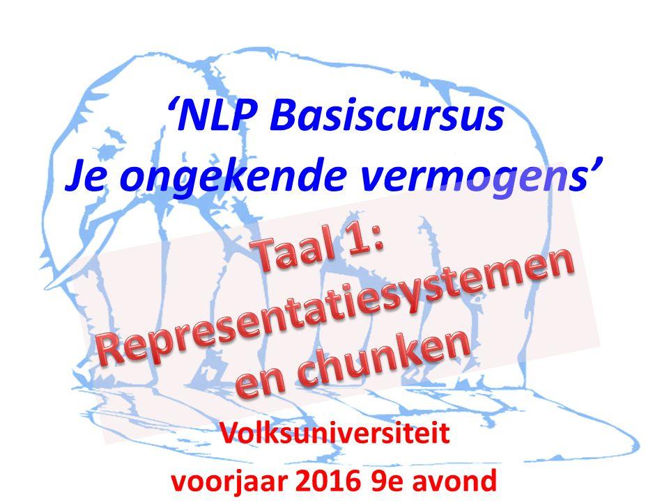 'NLP Basiscursus Je ongekende vermogens' Volksuniversiteit voorjaar 2016 9e avond