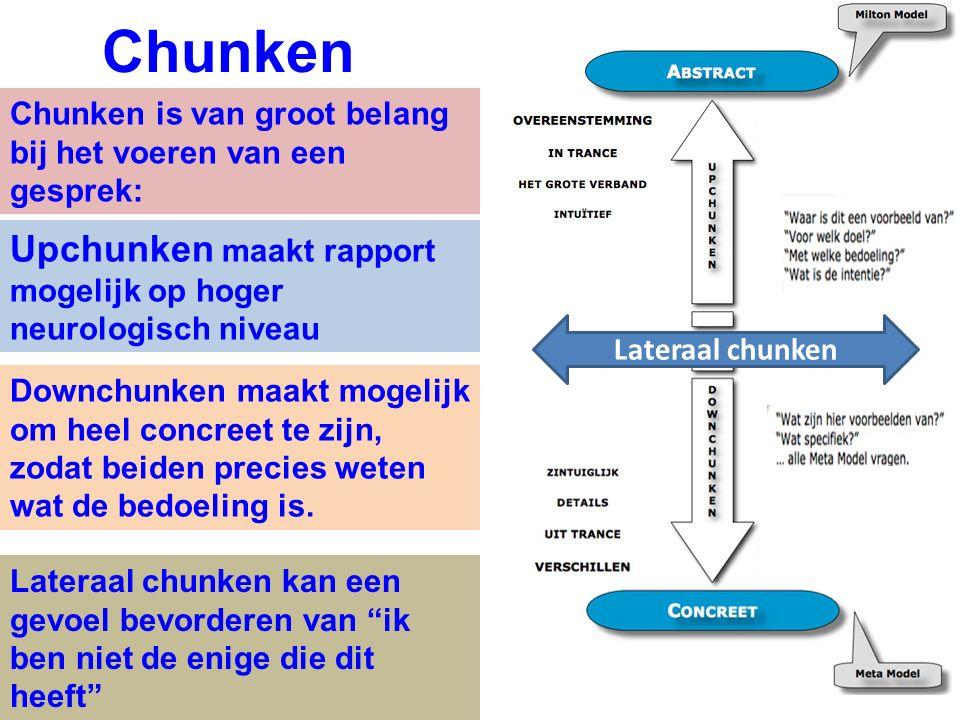Chunken is van groot belang bij het voeren van een gesprek: Chunken Upchunken maakt rapport mogelijk op hoger neurologisch niveau Downchunken maakt mo