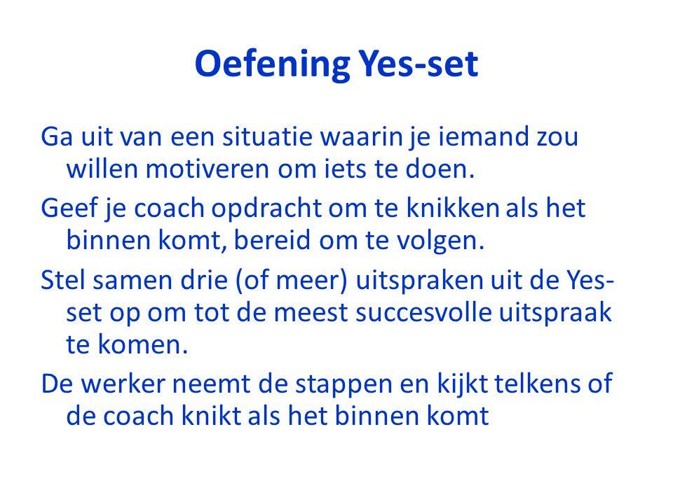 Oefening Yes-set Ga uit van een situatie waarin je iemand zou willen motiveren om iets te doen. Geef je coach opdracht om te knikken als het binnen ko