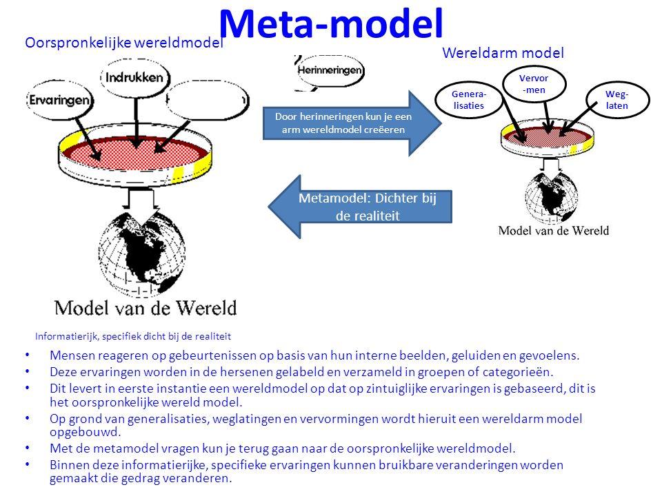 Meta-model Mensen reageren op gebeurtenissen op basis van hun interne beelden, geluiden en gevoelens. Deze ervaringen worden in de hersenen gelabeld e