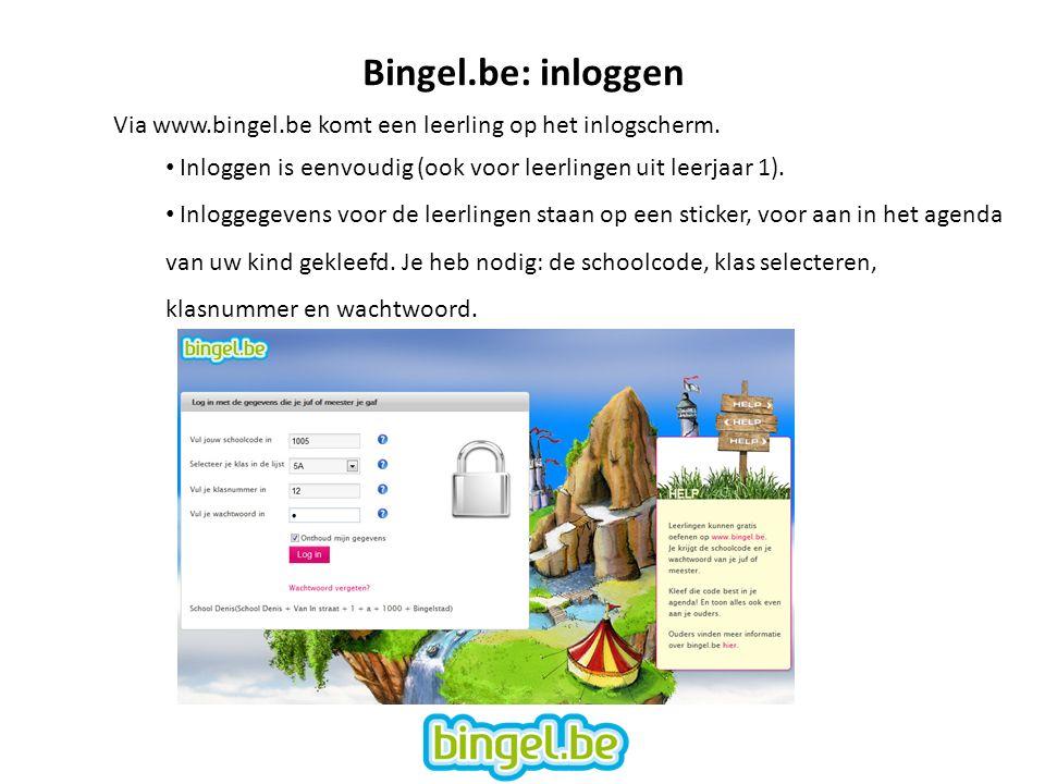 Bingel.be: inloggen Via www.bingel.be komt een leerling op het inlogscherm.