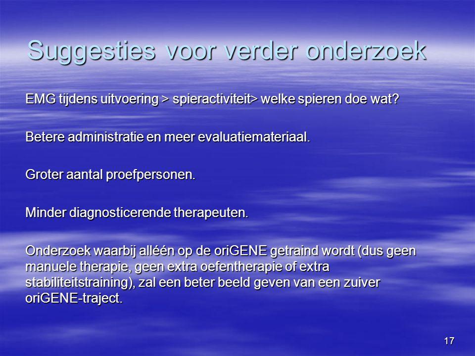 17 Suggesties voor verder onderzoek EMG tijdens uitvoering > spieractiviteit> welke spieren doe wat.