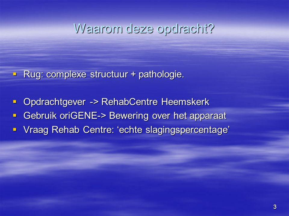 3 Waarom deze opdracht.  Rug: complexe structuur + pathologie.