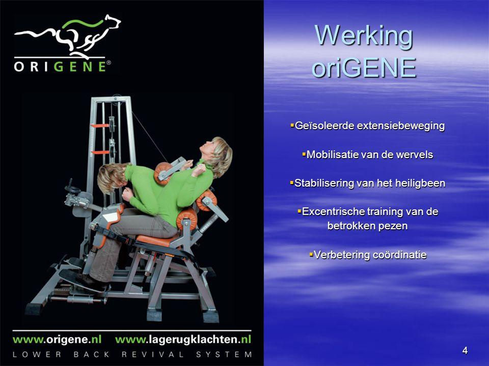 4 Werking oriGENE  Geïsoleerde extensiebeweging  Mobilisatie van de wervels  Stabilisering van het heiligbeen  Excentrische training van de betrokken pezen  Verbetering coördinatie