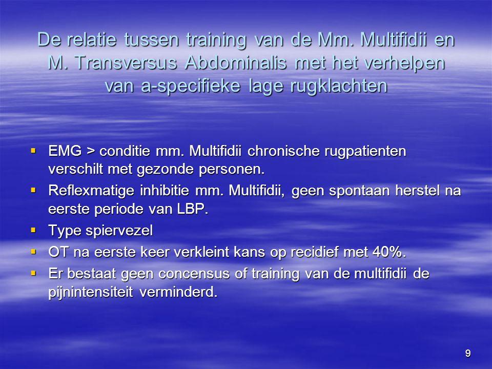 9 De relatie tussen training van de Mm. Multifidii en M.