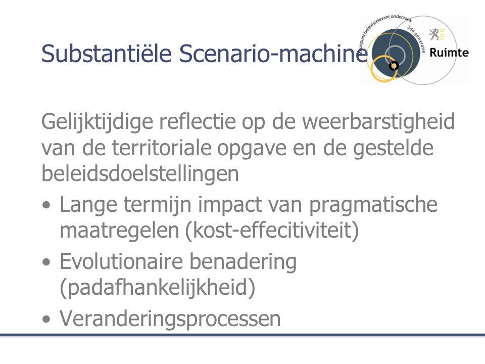 Substantiële Scenario-machine Gelijktijdige reflectie op de weerbarstigheid van de territoriale opgave en de gestelde beleidsdoelstellingen Lange termijn impact van pragmatische maatregelen (kost-effecitiviteit) Evolutionaire benadering (padafhankelijkheid) Veranderingsprocessen