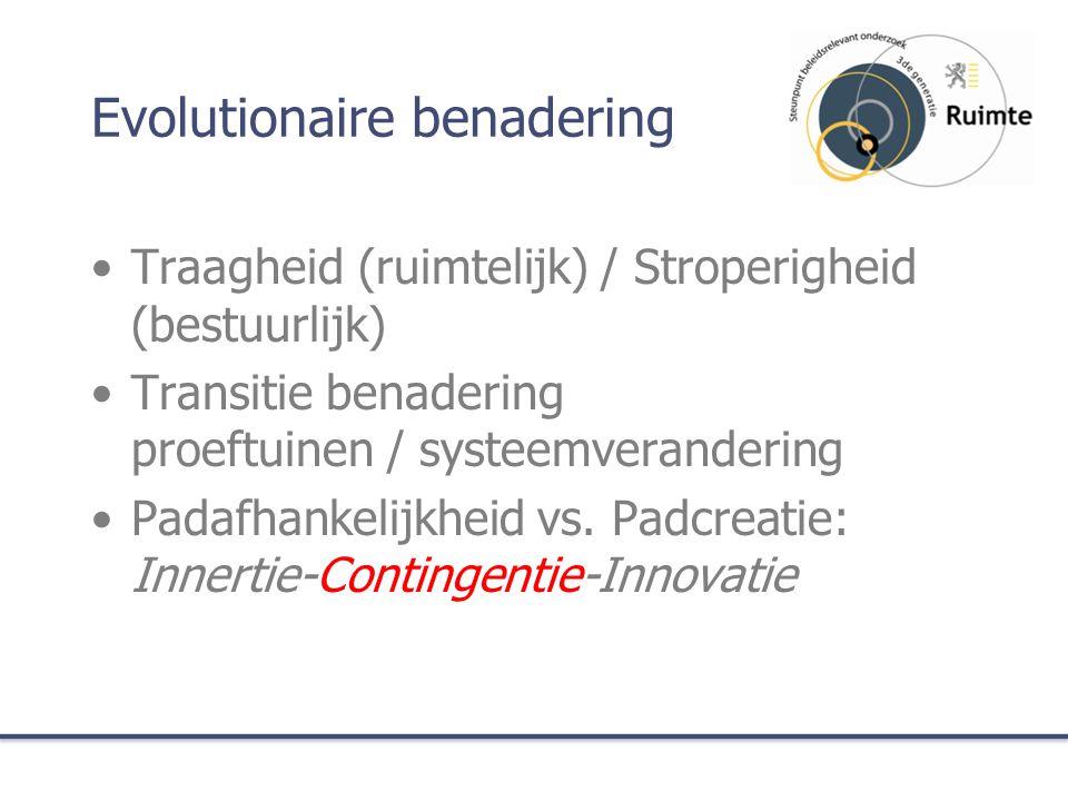 Evolutionaire benadering Traagheid (ruimtelijk) / Stroperigheid (bestuurlijk) Transitie benadering proeftuinen / systeemverandering Padafhankelijkheid vs.