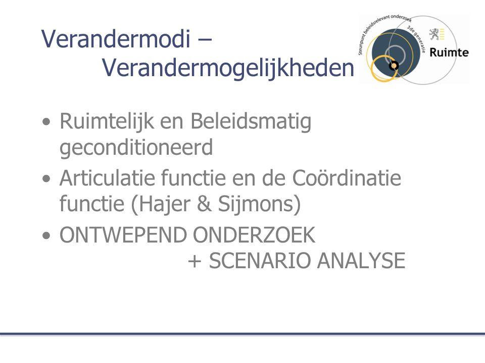 Verandermodi – Verandermogelijkheden Ruimtelijk en Beleidsmatig geconditioneerd Articulatie functie en de Coördinatie functie (Hajer & Sijmons) ONTWEPEND ONDERZOEK + SCENARIO ANALYSE