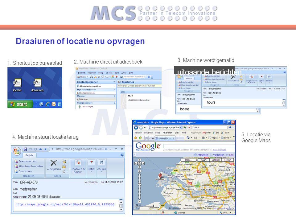 Draaiuren of locatie nu opvragen 2. Machine direct uit adresboek uitgaande berichten 1.