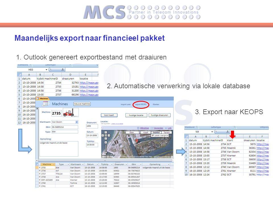 Maandelijks export naar financieel pakket 1. Outlook genereert exportbestand met draaiuren 2.