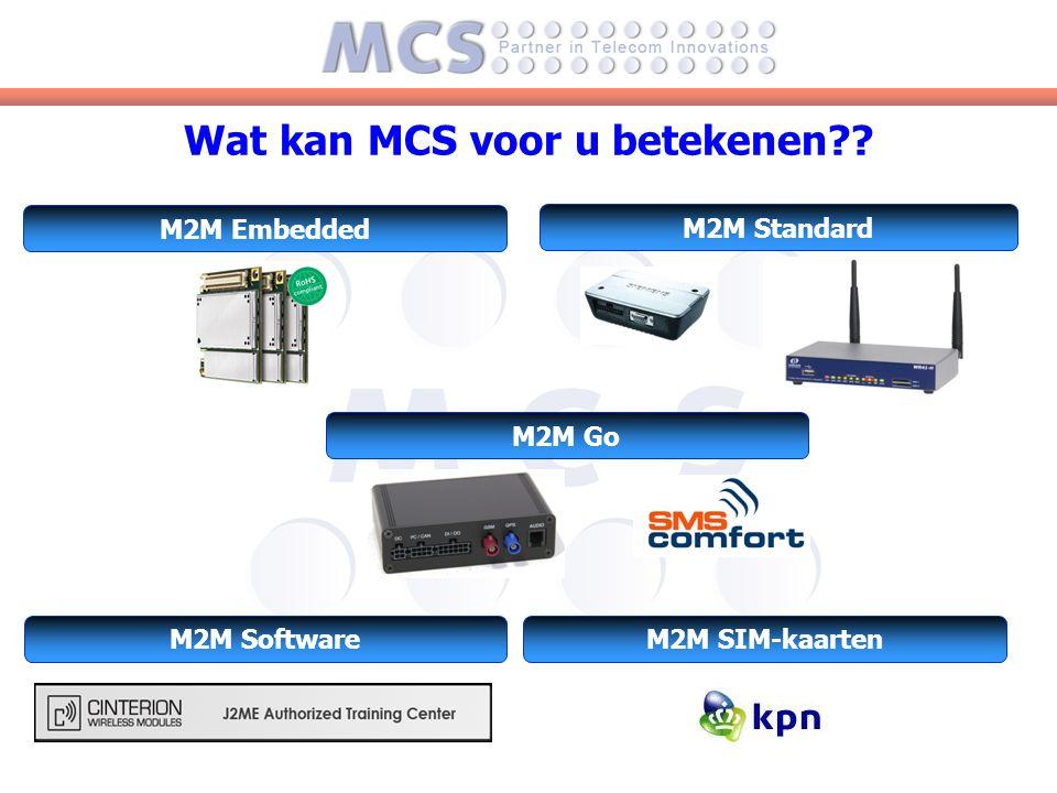 Wat kan MCS voor u betekenen M2M Standard M2M Embedded M2M Go M2M SoftwareM2M SIM-kaarten