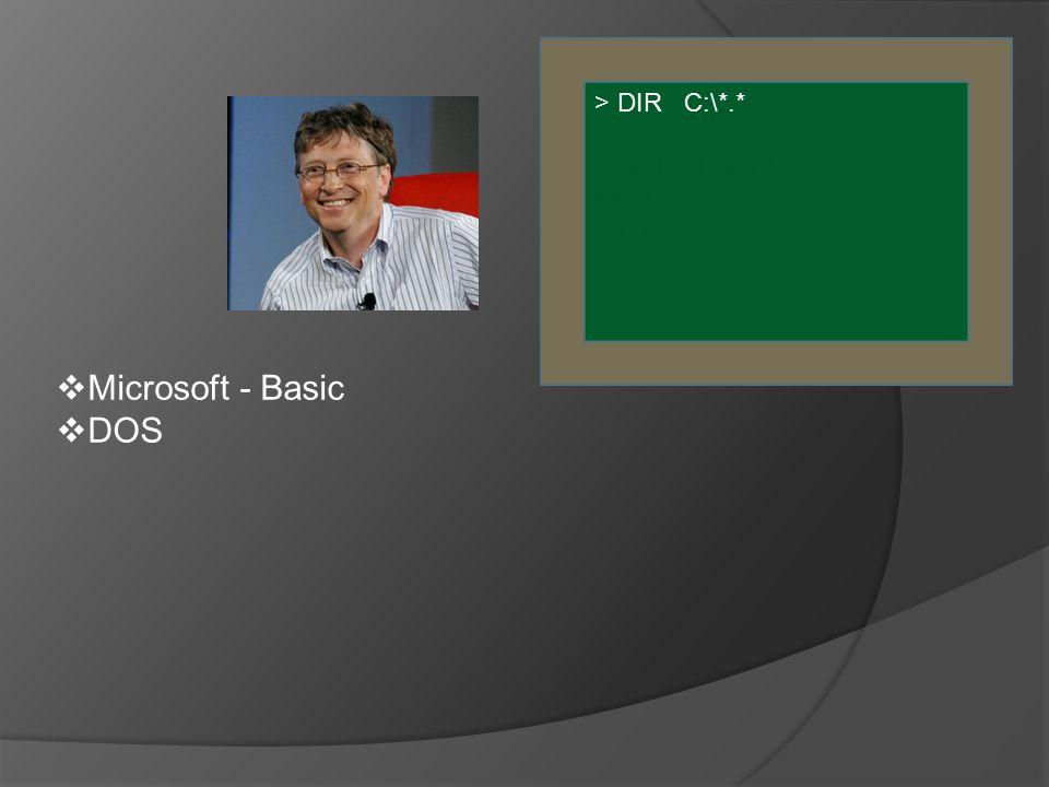  Microsoft - Basic  DOS > DIR C:\*.* SCRIPTIE.WPD KLAD.TXT WP.EXE