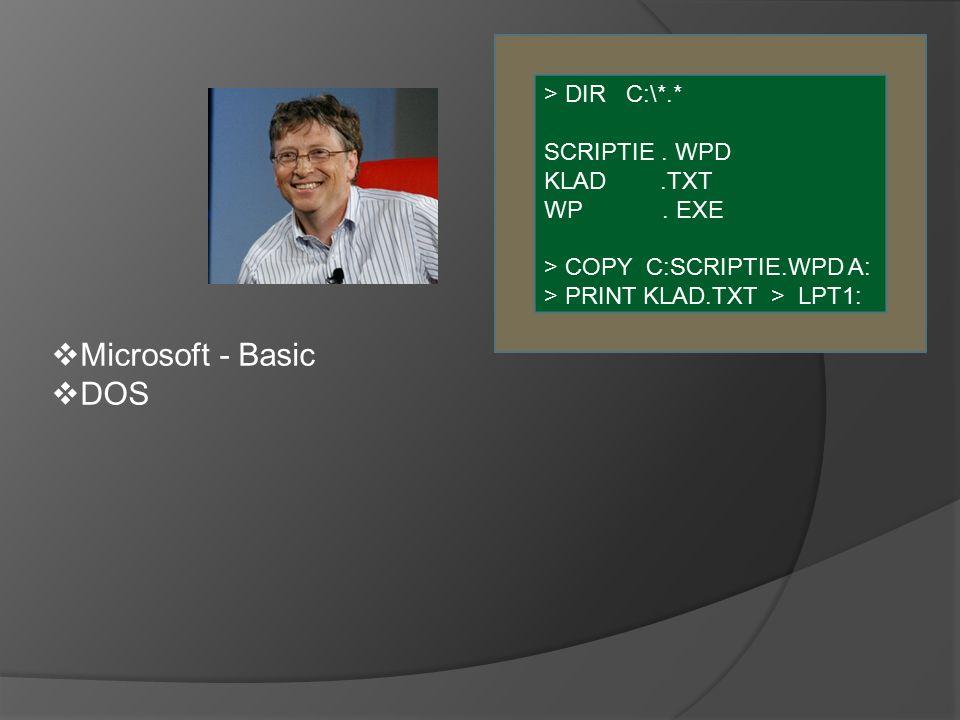  Microsoft - Basic  DOS > DIR C:\*.* SCRIPTIE. WPD KLAD.TXT WP.