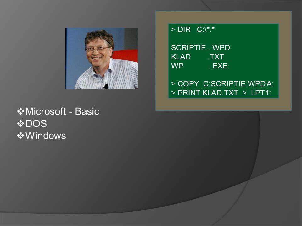  Microsoft - Basic  DOS  Windows > DIR C:\*.* SCRIPTIE.
