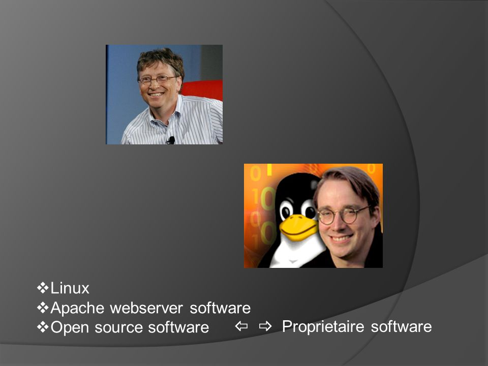  Linux  Apache webserver software  Open source software   Proprietaire software