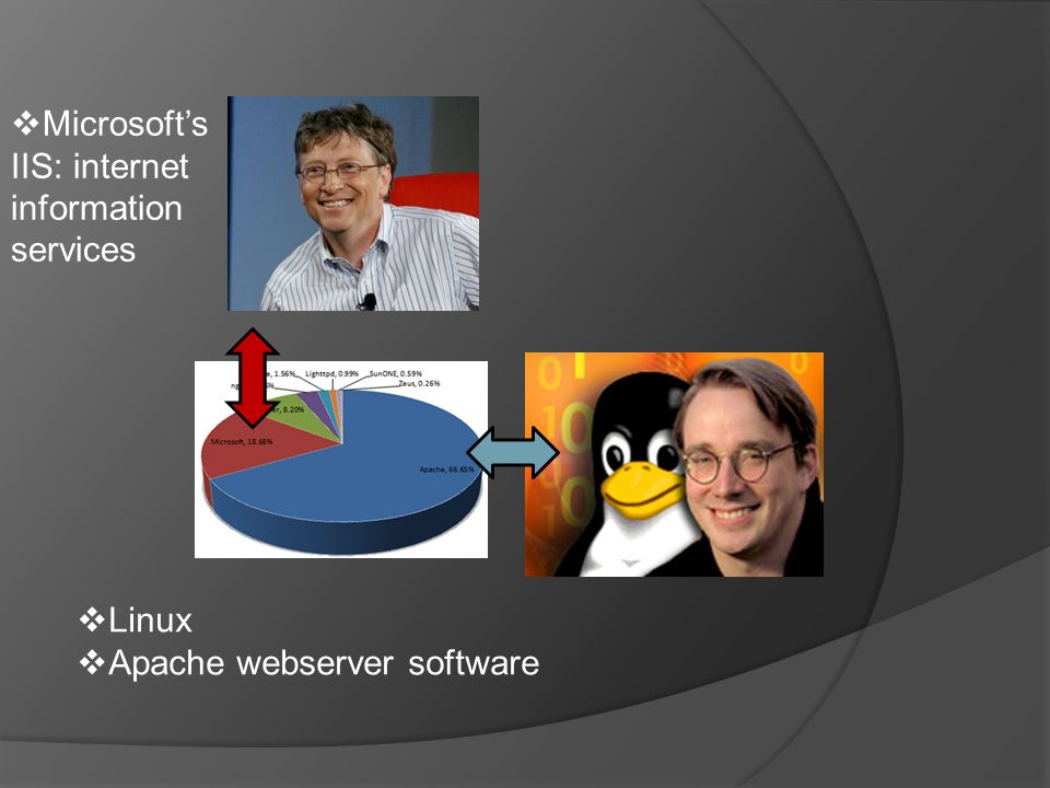  Linux  Apache webserver software  Microsoft's IIS: internet information services