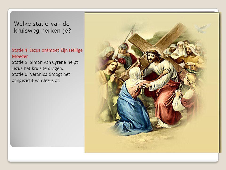 Welke statie van de kruisweg herken je.Statie 4: Jezus ontmoet Zijn Heilige Moeder.