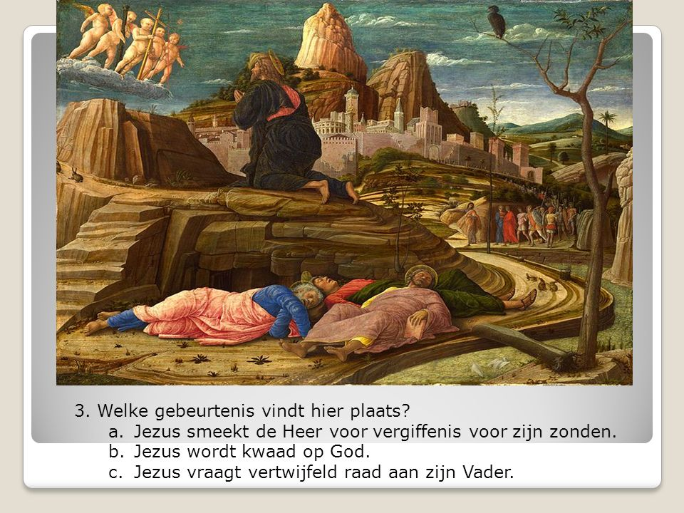 3. Welke gebeurtenis vindt hier plaats? a.Jezus smeekt de Heer voor vergiffenis voor zijn zonden. b.Jezus wordt kwaad op God. c.Jezus vraagt vertwijfe