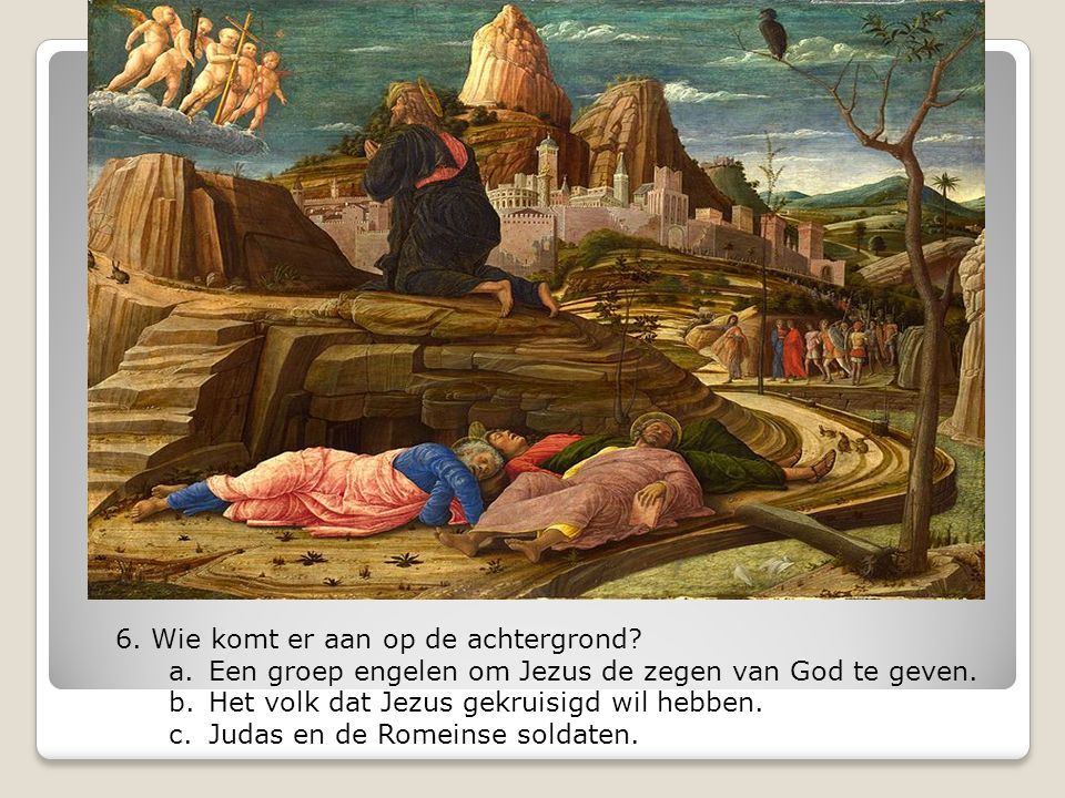 7.Wie is de persoon naast Jezus met het roze kleed.