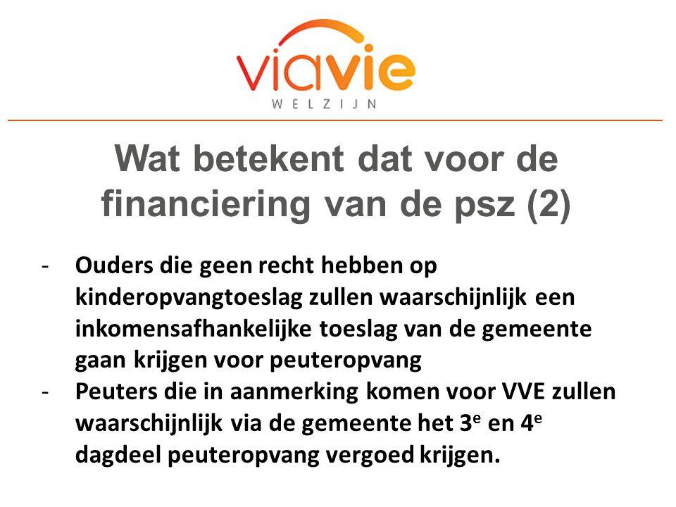Wat betekent dat in de praktijk (1) -ViaVie Welzijn zal peuteropvang blijven aanbieden op dezelfde wijze als nu de peuterspeelzaal is.