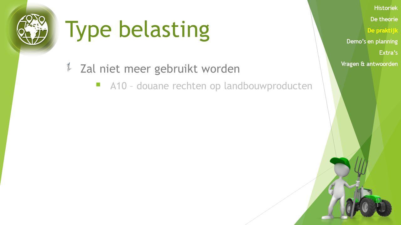 Type belasting Zal niet meer gebruikt worden  A10 – douane rechten op landbouwproducten Historiek De theorie De praktijk Demo's en planning Extra's V