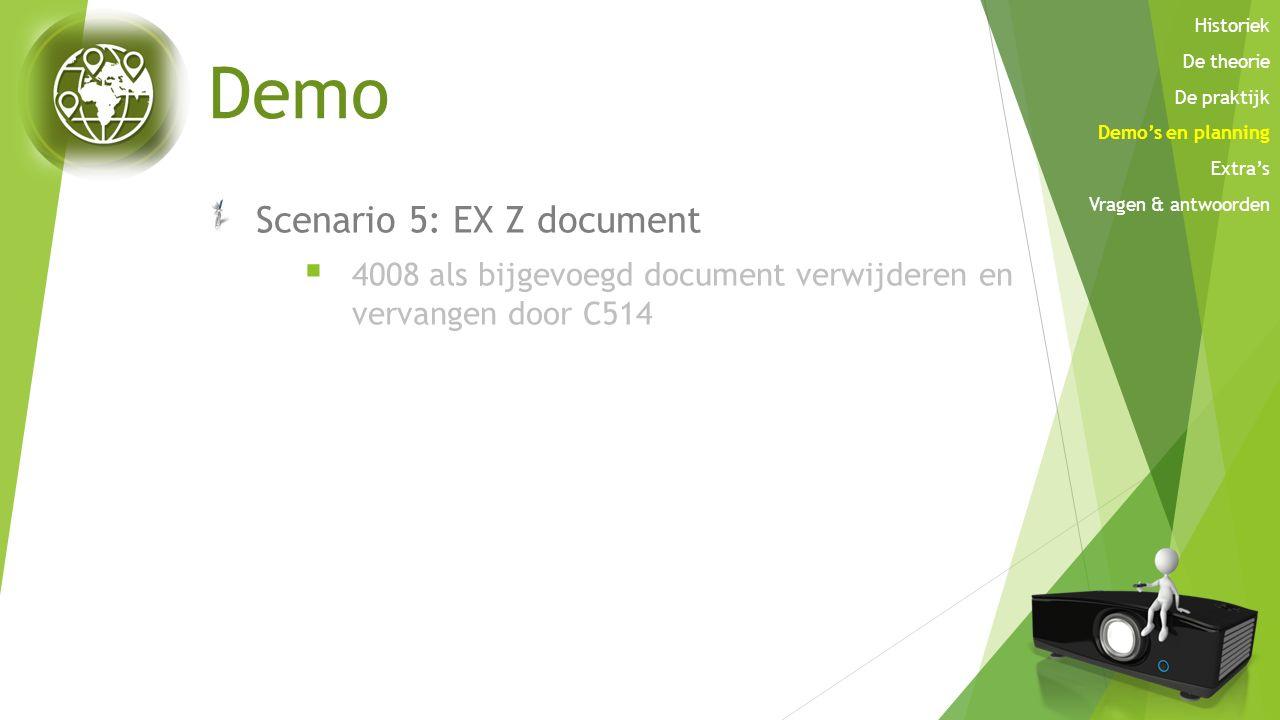 Demo Scenario 5: EX Z document  4008 als bijgevoegd document verwijderen en vervangen door C514 Historiek De theorie De praktijk Demo's en planning E