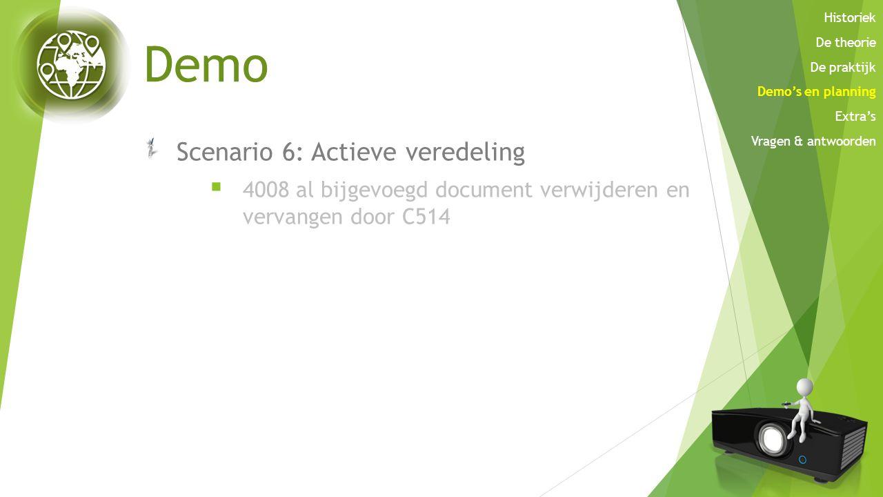 Demo Scenario 6: Actieve veredeling  4008 al bijgevoegd document verwijderen en vervangen door C514 Historiek De theorie De praktijk Demo's en planni